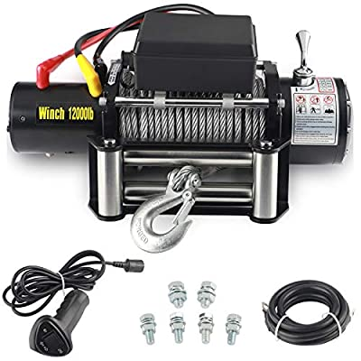 """EOTH 12000-lb12V Waterproof Electric Winch Kit for Truck UTV, ATU,SUV, Car with Corded Control and Steel Cable Rope (3/8"""" Diameter x 92ft Length?"""