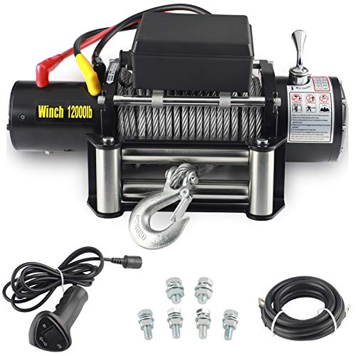 EOTH 12000-lb12V Waterproof Electric Winch Kit for Truck UTV, ATU,SUV, Car with Corded Control and Steel Cable Rope (3/8
