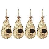 Tuneway - Juego de 4 casas de nido de pájaro de punto a mano, ideal para loros, canarios, gorriones, decoración de jardín