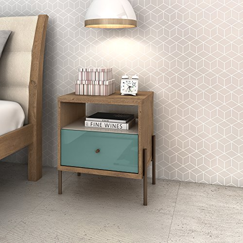 Manhattan Comfort Joy Series Bedroom Nightstand, Blue/Off-White