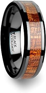 Thorsten Gabon Black Ceramic Wedding Band with Polished Bevel Edge and Exotic Mahogany Hard Wood Inlay 6mm from Roy Rose Jewelry