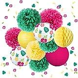 NICROLANDEE Decoraciones tropicales hawaianas para fiestas – 12 unidades de farol de papel verde amarillo con hojas de palma, confeti para verano temático Luau cumpleaños, boda, baby shower