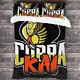 Qoqon Cobra Kai Logo Karate Kid Juego de Cama de 3 Piezas Funda nórdica Juego de Cama de 3 Piezas Decorativo con 2 Fundas de Almohada