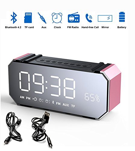 Enjoy Best Time Wireless Bluetooth Speaker with FM Radio, Portable Stereo Speaker,Cute Alarm Clock, LED Diaplay, Built-in Mic, LED Nightstand Clock and Large LED Dimmable Display