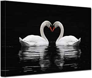 Black and White Romantic Love Swan Wall Art for Bedroom Wall Decor Artwork for Living Room Home Decorations Ready to Hang (Swan, 12x16inch(30x40cm))