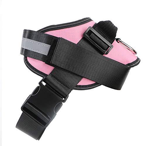Chisbbu Reflektierendes Atmungsaktives Verstellbares Haustiergeschirr Hundezubehör, Hundegeschirr Haustierhalsband Für Kleine Große Hundeweste (XL,Rosa)