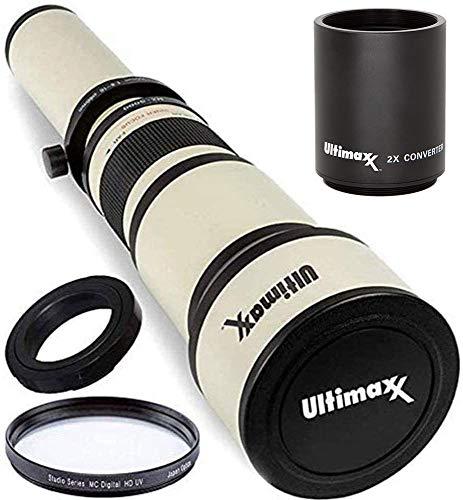 Ultimaxx 650-1300mm (w/ 2x 1300-2600) Telephoto Zoom Lens Set for Nikon D7500, D500, D600, D610, D700, D750, D800, D810, D850, D3100, D3200, D3300, D3400, D5100, D5200, D5300, D5500