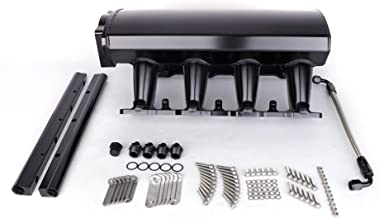 Fit For LS1 LS2 LS6 102mm Fab Intake Manifold Include MAP Sensor Port Fuel Rails Fuel Crossover Line Gaskets and Other Fitting Hardware (Black)