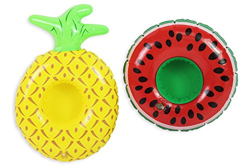 Inflatable Drinks Holder Pineapple Watermelon Cup Holder Swimming Pool Summer Can Holder Beach Party Floating Drinks Holder Float Bath Hot Tub Lilo - Pack of 2