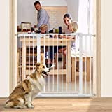 """48.8"""" W x 36"""" H Dog Gate Extra Wide Tall Large Pet Gate Auto Close Safety Gate Durable Walk Thru for Stairs Doorways Houses, Pressure Mounted, Fits Openings 29.5"""" to 48.8"""", White"""