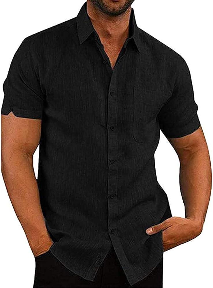 ANMLON Men's Linen Short Sleeve Shirt Regular Fit Button Down Summer Shirt