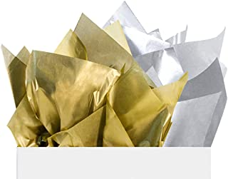 UNIQOOO 60 Sheets Metallic Gift Wrapping Tissue Paper Combo,30 Gold/ 30 Sliver,Sheet Size 20X26 Inch,100% Recyclable Pack Wrap,for Christmas Party Wrap,Craft Ideas,School Project,Piñata,Confetti,Wine