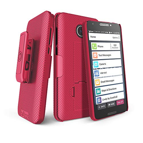 BELTRON Jitterbug Smart2 Case with Belt Clip Holster Combo, Slim Protective Grip Case with Kickstand...