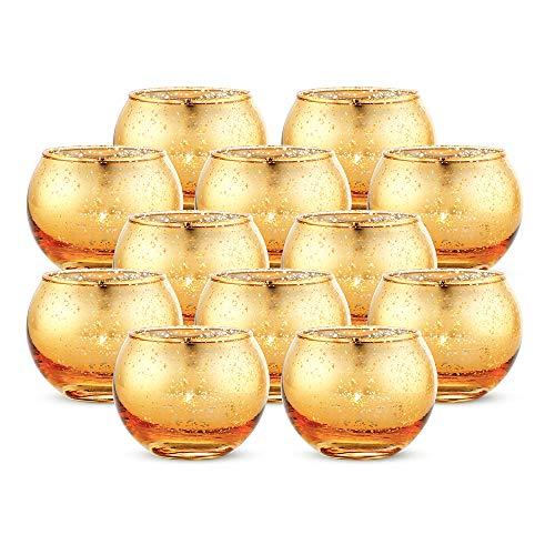 Nuptio Portavelas Votivo de 12 Piezas de Mercurio Redondo, Hecho de Vidrio de Mercurio con Acabado Dorado Moteado, para Decoraciones de su Boda o Decoración del Hogar