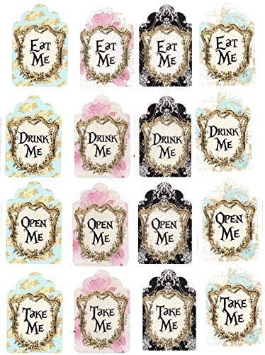 Alice in Wonderland 20 eat me, drink me, take me, open me party tags with silk ribbons.