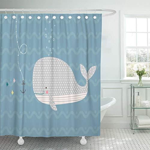 JOOCAR Design Duschvorhang, blauer glücklicher Wal im Ozean, skandinavisch, lustig, niedlich, wasserdichter Stoff, Badezimmerdekor-Set mit Haken