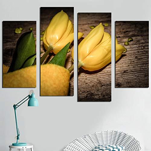 HOMEDCR Murales Precio De Fábrica De 4 Piezas Amor Amarillo Tulipán Impresión De Aceite Póster De Arte Decoración del Hogar Lienzo Impresión De Pared Pintura De Lienzo