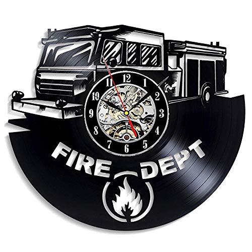 UIOLK Reloj de Pared con Registro de Vinilo del Departamento de Bomberos, diseño de Sala de Estar, Reloj de Pared sinterizado Retro, Regalo de decoración del hogar de Bombero