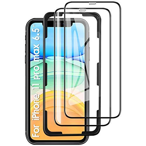 """KuGi Panzerglasfolie Displayschutzfolie für iPhone 11 Pro Max, 9H Passt für iPhone 11 Pro Max / iPhone XS Max 6.5\"""" Smartphone. Schwarz(2 Stück)"""