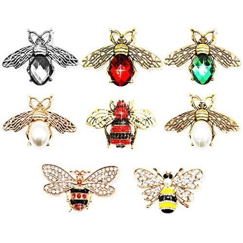 Uooker 8 piezas Charms De Abeja,DIY Animal Cristal Reina Abeja Abalorios Charms , Miel Abeja Reina joyería Colgante de Cristal para fabricación de joyas