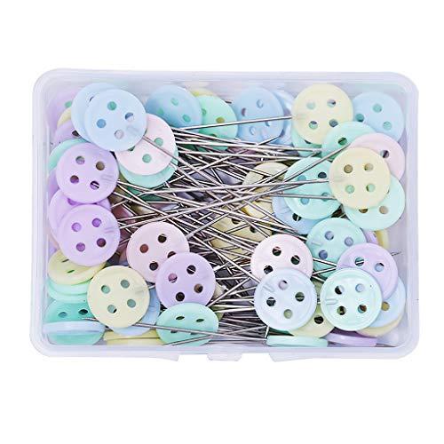 Fengyuanhong 100 Piezas de plástico de Cabeza Plana alfileres de Bricolaje acolchar Pernos Color Mixto, Bricolaje Agujas de Coser, Sujetador