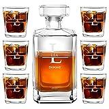 Murrano Ensemble de Carafes Personnalisés a Whisky Rhum Cognac Avec 6 Verres a Whisky Gravés - 700 ml Service Universel Verre Whisky et Carafe - Monogramme
