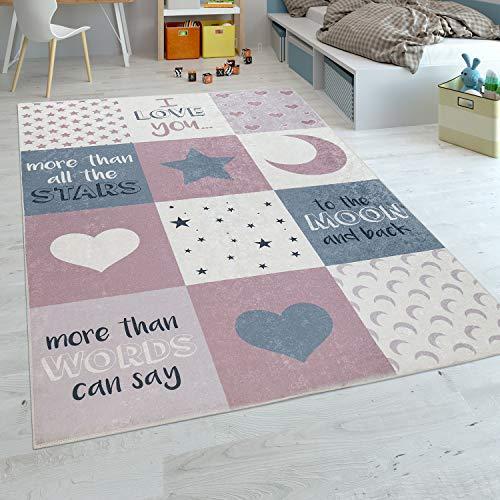 Paco Home Kinderteppich Kinderzimmer Mädchen Waschbar Herzen Sterne Mond Spruch Rosa Grau, Grösse:120x160 cm