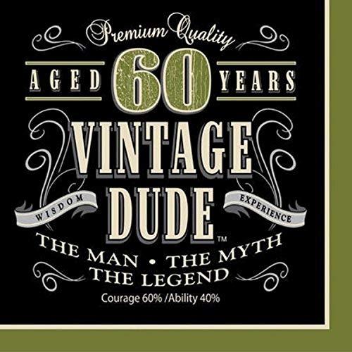 Creative Converting 661667 Servietten zum 60. Geburtstag, Vintage-Design, 16 Stück