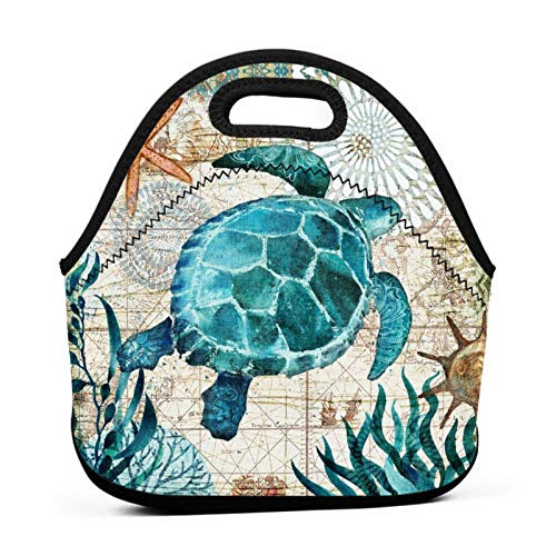 Neoprene Lunch Bag Marine Life Theme Sea Turtle Reusable Insulated Thermal Lunch Tote Small Lunch Box Carry Case Handbags Container with Zipper for Adults Kids Nurse Teacher Work Outdoor Travel Picnic