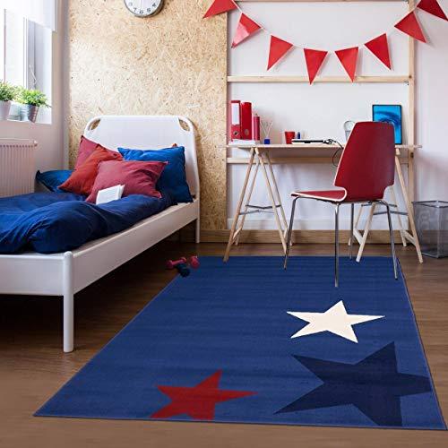 UN AMOUR DE TAPIS - Tapis pour la Chambre AF Enfant Star Bleu, Blanc, Rouge, Bleu foncé - 120 x 170 cm - Tapis Enfant 4675