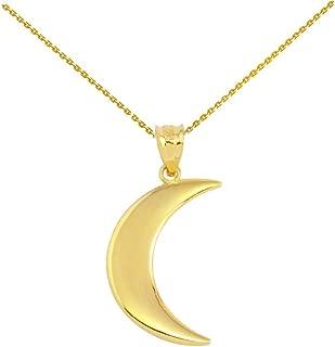 High Polish 10k Yellow Gold Crescent Moon Pendant Necklace