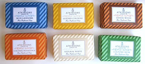 6x Atkinsons Jabón Azul Lavender 125g