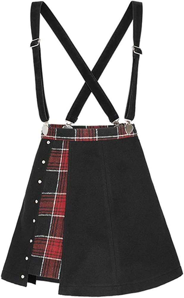 Punk Rave Women's Plaid Joint Over Skirt Peach Heart Shoulder Straps Women Casual Short Skirt