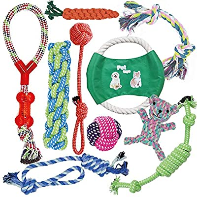 KEPLIN Dog/Puppy Chew Toys, Teething, Training - 10pcs Dog Rope Toys 100% Natural Cotton Rope for Small/Medium/Large Dogs