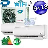Climatizador Inverter Dual Split Frozen R329000+ 18000BTU DILOC Clase A + +/A + función Smart WiFi