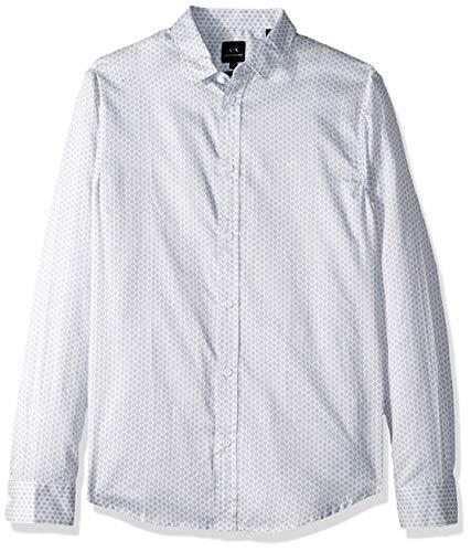 Armani Exchange AX Herren Patterned Long-Sleeve Cotton Button Down Hemd, Weiß Rombodots, Klein