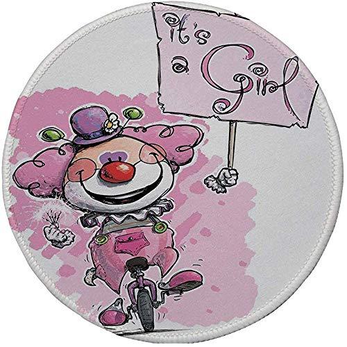 Rubber Gaming Mouse Pad,rutschfestes rundes Mousepad,Dekorationen zur Aufdeckung des Geschlechts,künstlerischer Clown auf dem Einrad,der ein Mädchen-Plackard hält,Baby Pink Red Green,20CM