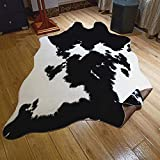 JACCAWS Faux Fur Black and White Cowhide Rug,4.6 x 6.6 Feet Cow Skin...