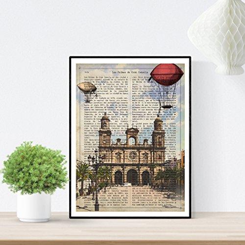 Nacnic Lámina Ciudad de Las Palmas DE Gran Canaria. Ilustración, fotografía y Collage con la Historia DE Las Palmas DE Gran Canaria. Poster tamaño A4 Impreso en Papel