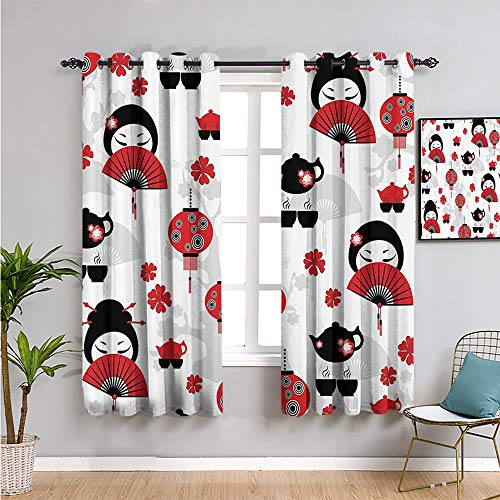lantern decor collection Room Darkened Heat Insulation Curtain, Curtains 84 inch length 2 Panel Sets black red W84 x L84 Inch