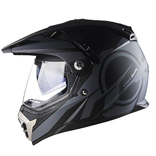 Voss 600 Dually Matte Black Reaction Dual Sport Helmet with Integrated Sun Lens and Removable Peak DOT - M - Matte Black Reaction