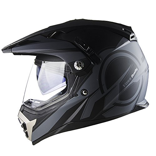 Voss 600 Dually Matte Black Reaction Dual Sport Helmet with Integrated Sun Lens and Removable Peak DOT - M - Matte Black Reaction
