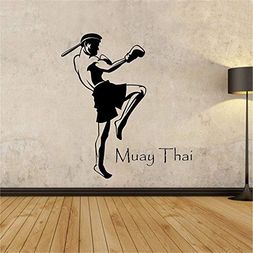 wopiaol Muay Thaise Speler Muurstickers Home Decor Woonkamer Verwijderbare Muurstickers Lijm Vinyl Stickers