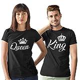 Pack de 2 Camisetas Negras para Parejas King y Queen Corona Blanca (Mujer Tamaño S + Hombre Tamaño M)