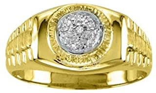 Diamond Ring Lucky Pinky Ring 14K Yellow or White Gold - Rolex Style