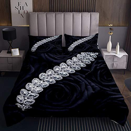 Diamant Rose Tagesdecke 220x240cm Blume Schwarz Steppdecke für Kinder Jungen Mädchen Klassisch elegant Softest Bettüberwurf Schwarz Kuscheldecke Bunte Gesteppte Decke Schwarz Ultra weich 3St