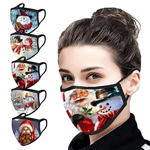 LiLiMeng 5PC Christmas Face Màsc Reusable Washable for Adults, Snowman Santa Claus Decorative Face Msaks for Women Men, Holidays Face Bandanas (M)
