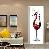 TMANQ 3D Wall Sticker Autocollant Art Decor Vinyle Mural Amovible Poster Trompe L'Oeil Mural 77X200CM Verre De Vin - Décoration Pour Porte Cuisine, Salon, Chambre, Salle De Bain