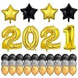 HOWAF Decorazioni Capodanno 2021 Set XXL, Nero Oro Argento Palloncini in Lattice, Stella Palloncino, 2021 Gigante per Il Veglione Cenone di San Silvestro Capodanno 2021 Decorazioni