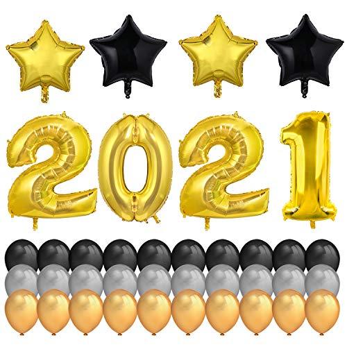 HOWAF Nochevieja 2021 decoración de Año Nuevo Fiestas,  40Inch número 2021 Globos Gigantes y 18Inch Globos en Forma de Estrella (4pcs) Dorados Negro Plata de Látex Globos (30pcs)